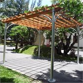 Vifah Comtemporary Aluminum Post Wood Top Pergola