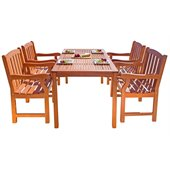 Vifah Balthazar Dining Set with 4 Ward Armchairs