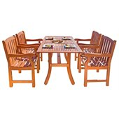 Vifah Atlantic Dining Set with 4 Ward Armchairs