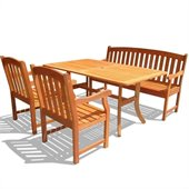 Vifah Atlantic Dining Set with 2 Ward Armchairs and Ward Bench