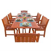 Vifah Airblade Rectangular Extension Table Set with 6 Ward Armchairs