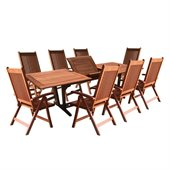 Vifah 9 Piece Outdoor Wood Dining Set