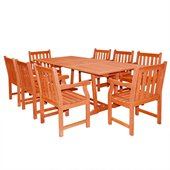 Vifah Airblade Rectangular Extension Table Set with 8 Baltic Armchairs