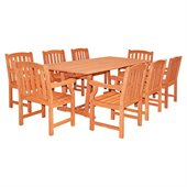 Vifah Airblade Rectangular Extension Table Set with 8 Ward Armchairs