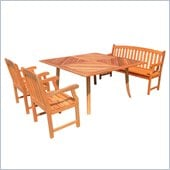 Vifah 4 Piece Outdoor Square Table Dining Set 2