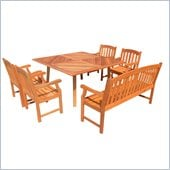 Vifah 6 Piece Outdoor Square Table Dining Set 3