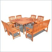Vifah 8 Piece Outdoor Square Table Dining Set 4