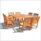 Vifah 9 Piece Outdoor Square Table Dining Set 5