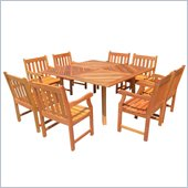Vifah 9 Piece Outdoor Square Table Dining Set 6