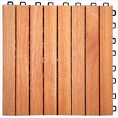 Vifah FSC Eucalyptus Interlocking 8 Slats Deck Tile 
