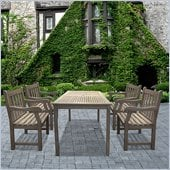 Vifah Renaissance Table and Armchair Outdoor 5 Piece Dining Set