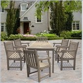 Vifah Renaissance Rectangular Table & Armchair Outdoor 7 Piece Dining Set