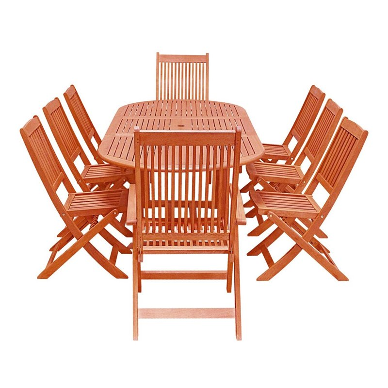 Vifah Outdoor Rectangular Curvy Dining Set