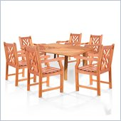 Vifah Wood Square Outdoor 7 Piece Dining Set