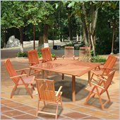 Vifah Wood Square Outdoor Folding Chair 9 Piece Dining Set