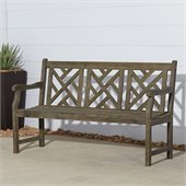 Vifah Outdoor Traditional Renaissance Garden Hand-Scraped Hardwood Bench