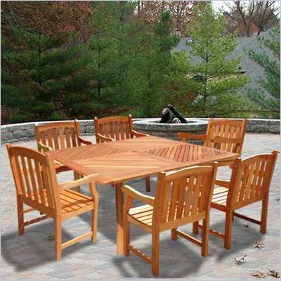Vifah Wood Square Outdoor Slat Back Chair 7 Piece Dining Set
