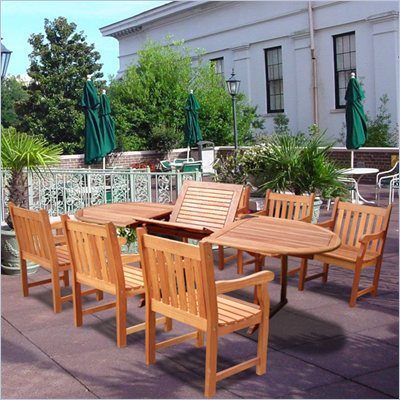 Vifah Vista Extension Table Set with 6 Baltic Armchairs