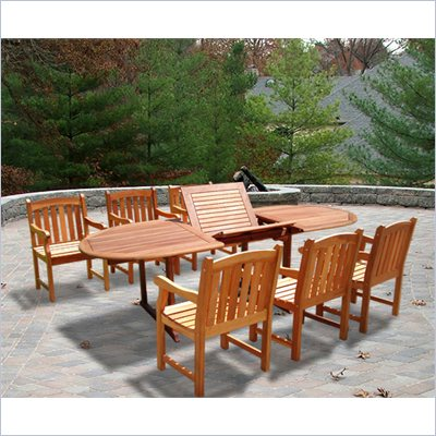 Vifah Vista Extension Table Set with 6 Ward Armchairs