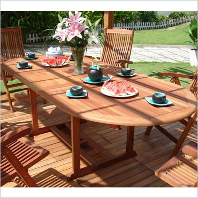 Vifah Vista Extension Table Set with 6 Ibiza Stacking Chairs