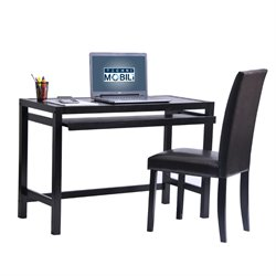 Techni Mobili Matching Desk with Keyboard Panel and Chair Set in Wenge