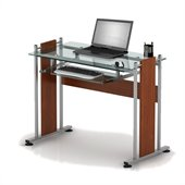 TECHNI MOBILI Moderna Glass Top Writing Desk in Mahogany