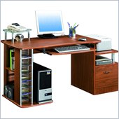 TECHNI MOBILI Winchester Wood Computer Work Station in Mahogany