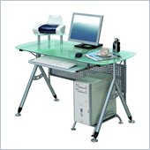TECHNI MOBILI Glacier Glass Top Metal Computer Desk
