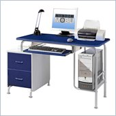 TECHNI MOBILI Wood Student Computer Desk in Blue and Silver