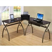 Techni Mobili L-Shaped Computer Desk in Chocolate