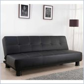 Techni Mobili 3 Positions Convertible Upholstered Futon Sofa in Black