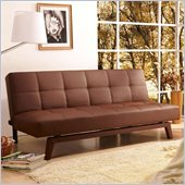 Techni Mobili 3 Positions Convertible Upholstered Futon Sofa in Chocolate