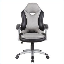 Techni Mobili High Back Racer Series Two Tone Office Chair in Black and Grey