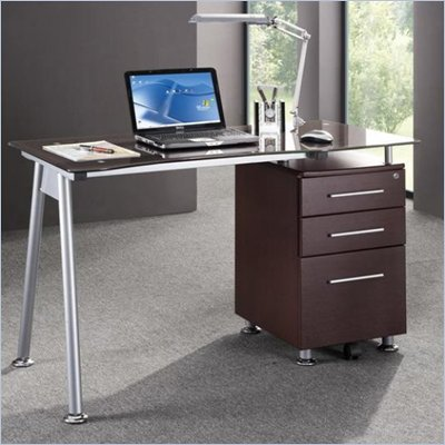 Techni Mobili Tempered Glass Top Computer Desk in Chocolate