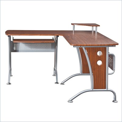 TECHNI MOBILI L-Shape Corner Wood/Metal Computer Workstation in Mahogany
