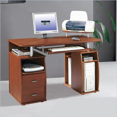Techni Mobili Atea Wood Computer Workstation in Mahogany