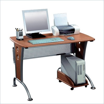 TECHNI MOBILI Karah Wood Top Computer Desk in Dark Honey