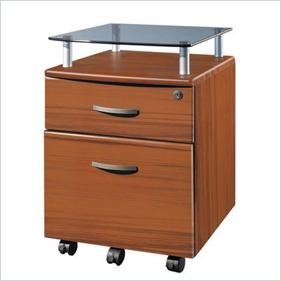 TECHNI MOBILI Seguro Mobile 2 Drawer Wood File Pedestal in Honey