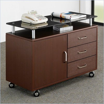 Techni Mobili Deluxe Rolling Glass Top File Cabinet in Chocolate