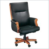 DMi Seating Executive Office Chair with Exposed Wood in Black Leather