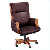 DMi Seating Executive Office Chair with Exposed Wood in Burgundy Leather