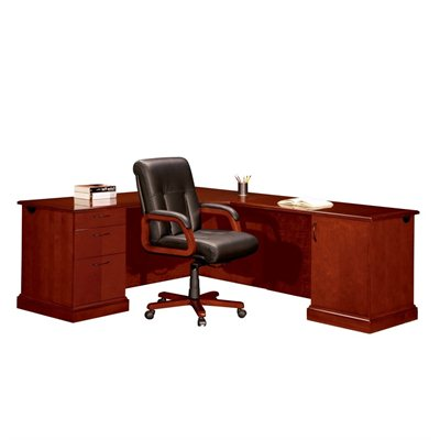 DMi Belmont Left L-Shape Corner Wood Desk in Cherry