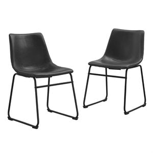Walker Edison Faux Leather Dining Chair in Black (Set of 2)