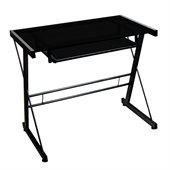 Walker Edison Solo Small Glass Top Computer Desk in Black