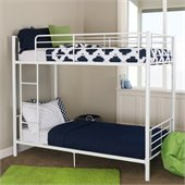 Walker Edison Sunrise Metal Twin over Twin Bunk Bed in White Finish