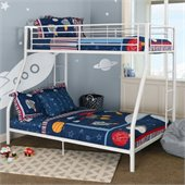Walker Edison Sunrise Metal Twin over Full Bunk Bed in White Finish