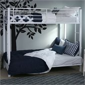 Walker Edison Sunrise Metal Twin over Futon Bunk Bed Frame in White