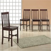 Walker Edison Solid Wood Dining Side Chairs in Espresso (Set of 4)