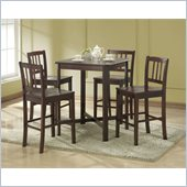 Walker Edison 5 Piece Solid Wood Pub Table Set in Espresso
