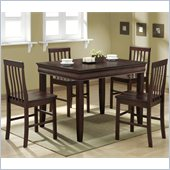 Walker Edison 5 Piece Fancy Solid Wood Dining Set in Espresso